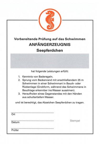 Frühschwimmer (Seepferdchen) Urkunde NEUE VERSION ab 2020
