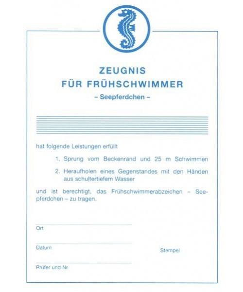 """Urkunde für das Abzeichen Frühschwimmer """"Seepferdchen"""""""
